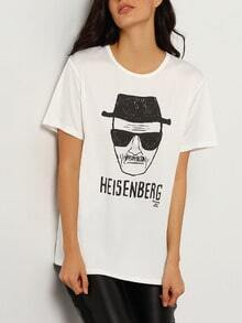 White Short Sleeve HEISENBERG Print T-Shirt