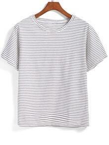 Black White Short Sleeve Striped T-Shirt