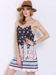 Black Spaghetti Strap Backless Vintage Print Dress