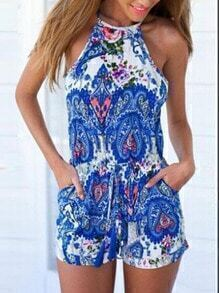 Blue Spaghetti Strap Floral Hollow Jumpsuits