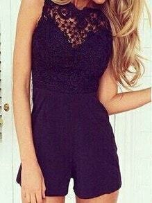 Black Sleeveless Open Back Lace Jumpsuit