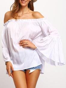 White Boat Neck Lace Loose Blouse