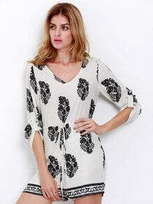 Beige Half Sleeve Leaves Print Playsuit
