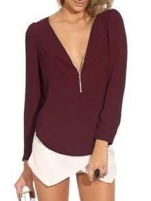 Wine Red V Neck Long Sleeve Zipper Top