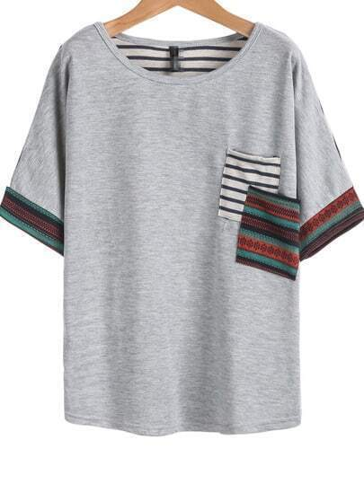 Grey Short Sleeve Quilting Pane Colourblock Striped Pocket T-Shirt