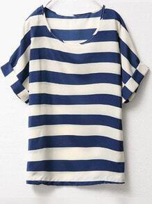Blue White Short Sleeve Striped Chiffon Blouse
