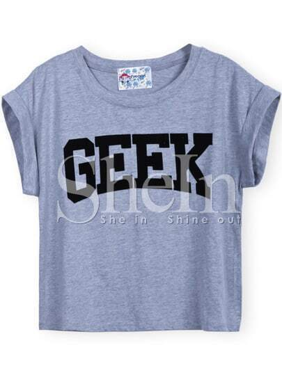 Grey Short Sleeve GEEK Print Crop T-Shirt