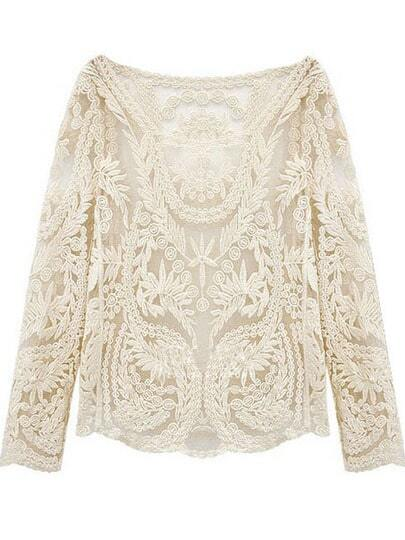 Hollow Crochet Lace Blouse -SheIn(Sheinside)