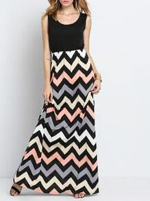 Scoop Neck Sleeveless Zigzag Dress