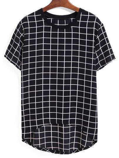 Dip Hem Plaid Black T-shirt