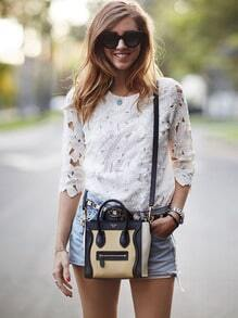 White Half Sleeve Floral Crochet Blouse