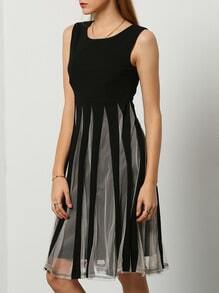 Color-block Coctel Sleeveless With Mesh Pleated Dress