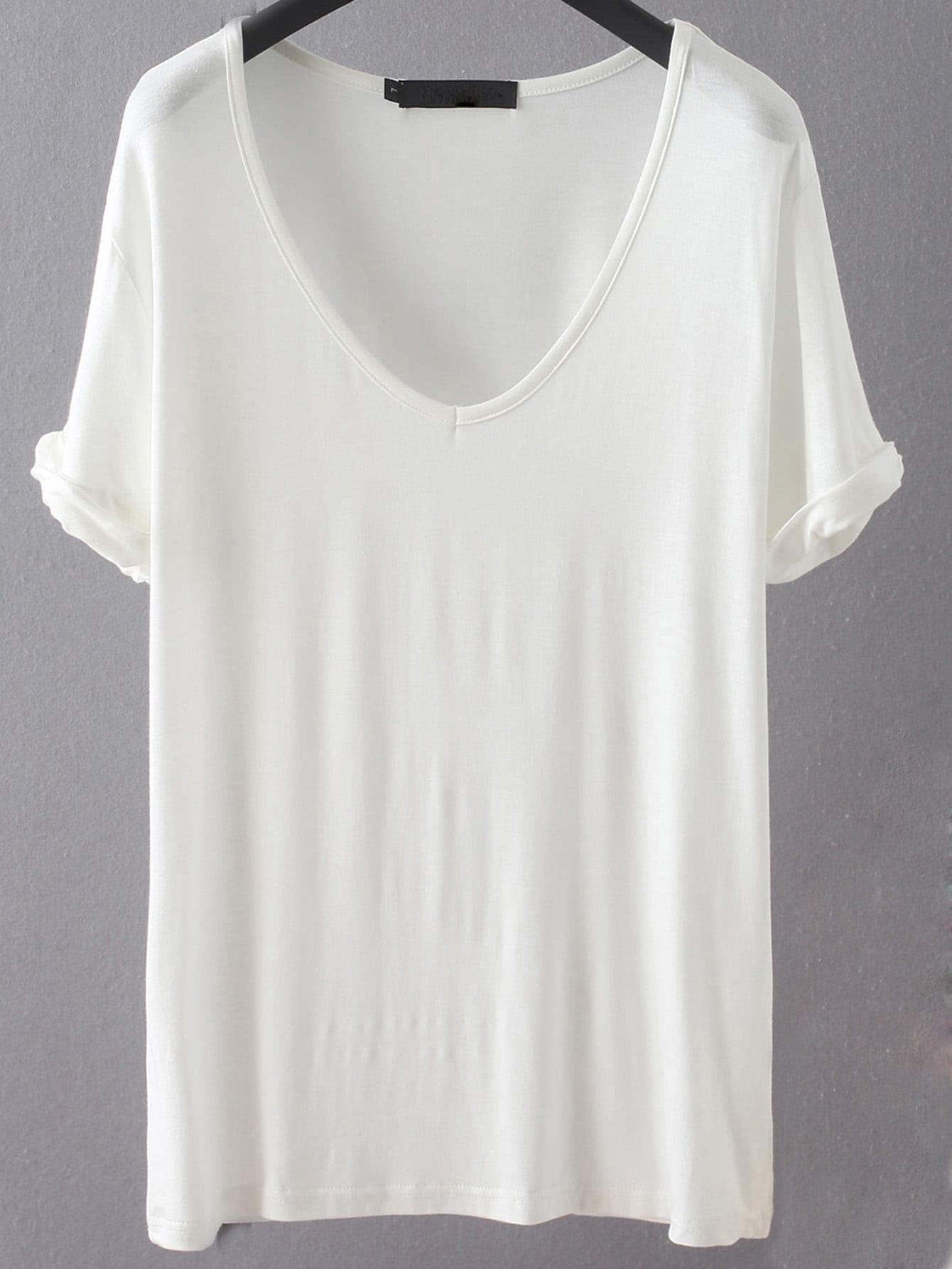 Белая свободная футболка с V-образным вырезом от SheIn