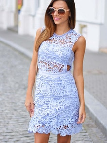 Blue Side Hollow Lace Scalloped A-Line Dress