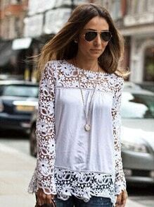 White Round Neck Floral Crochet Lace Blouse