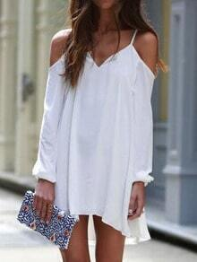 White Off the Shoulder Loose High Low Dress