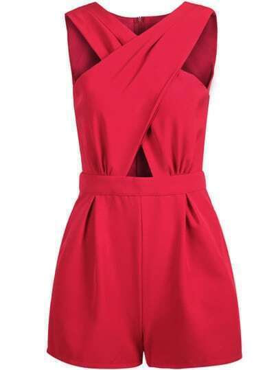 Red Sleeveless Cross Hollow Jumpsuit