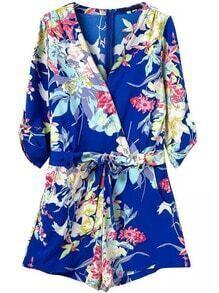 Blue V Neck Floral Tie-Waist Jumpsuit