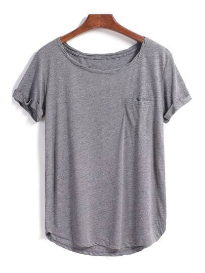 Grey Short Sleeve Pocket Loose Blouse