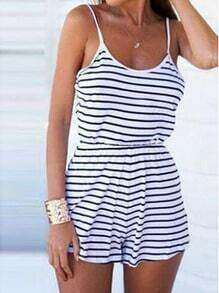 Blue White Spaghetti Strap Striped Jumpsuit