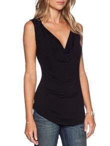 Black Draped Neck Slim T-Shirt