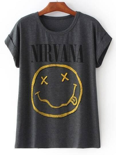 Grey Short Sleeve NIRVANA Face Irresistible Ugly Print T-Shirt