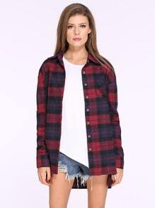 Red Blue Long Sleeve Plaid Loose Blouse