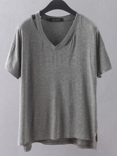 Grey V Neck Hollow Dip Hem Loose T-Shirt