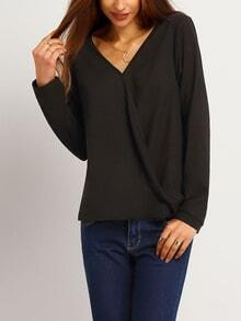 Black V Neck Long Sleeve Loose Blouse