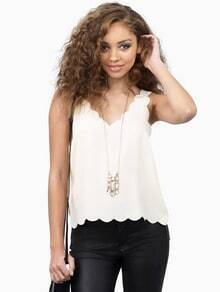White Sleeveless V Neck Vest