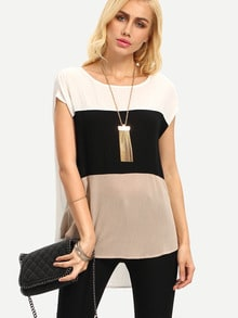 White Black Apricot Short Sleeve High Low T-shirt