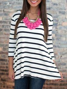 White Striped Dip Hem T-Shirt