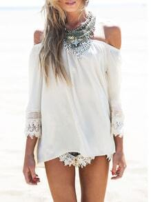 White Off the Shoulder Lace Loose Blouse