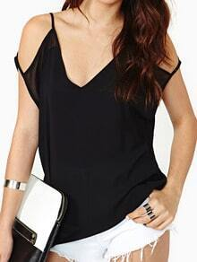Black Spaghetti Strap Backless Loose Blouse