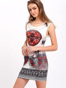 White Sleeveless Cowlneck Vintage Floral Mini Dress