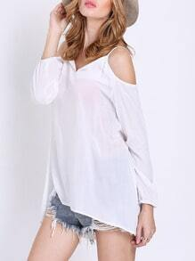 White Off the Shoulder Dip Hem Top
