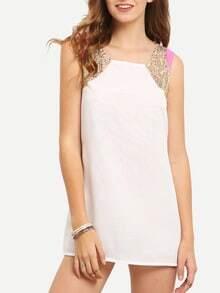White Sleeveless Sequined Straight Chiffon Dress