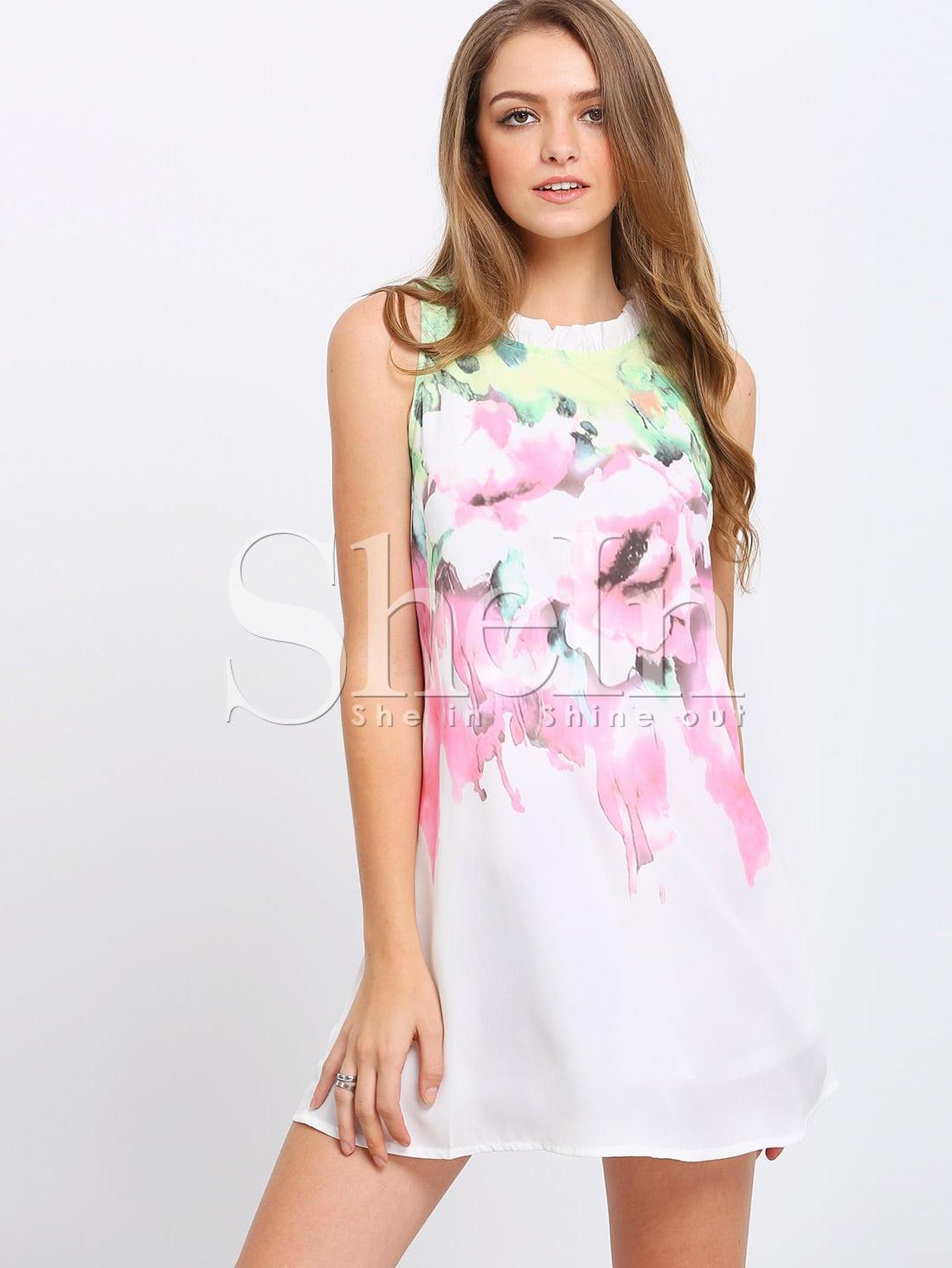 White Sleeveless Shift Dress