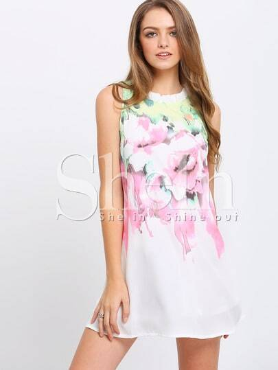 Бежевое модное платье с цветочным принтом