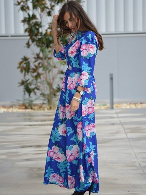 Blues Round Neck Long Sleeve Hibiscus Perfect Floral Maxi Dress
