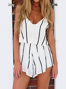 White Spaghetti Strap Vertical Stripe Jumpsuit