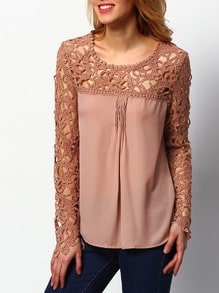 Coffee Long Sleeve Hollow Lace Chiffon Blouse