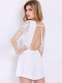 White Half Sleeve With Lace Playsuit