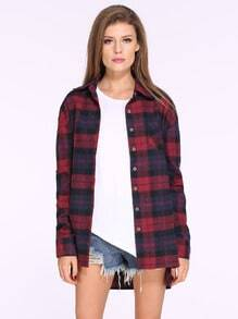 Red Blue Long Sleeve Checks Plaid Loose Blouse