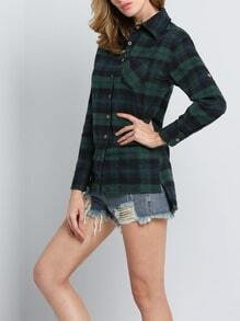 Green Blue Long Sleeve Plaid Loose Blouse