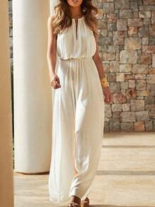 White Sleeveless V Cut Jumpsuit