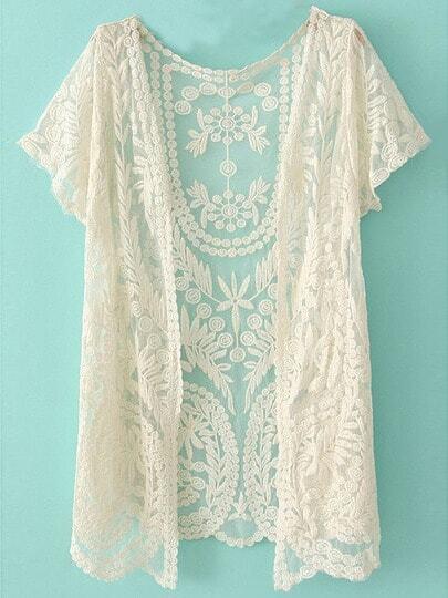 White Short Sleeve Crochet Net Lace Cardigan