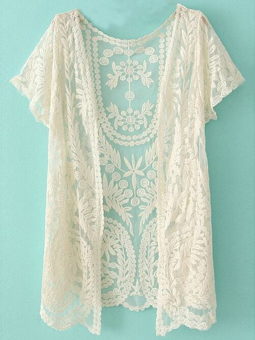 White Short Sleeve Crochet Net Lace Cardigan -SheIn(Sheinside)