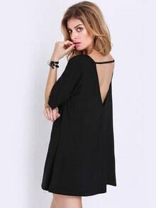 Black Short Sleeve Backless T-shirt