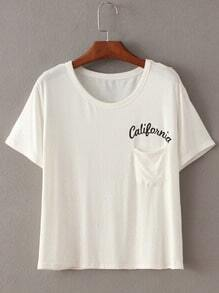 White Short Sleeve Letters Print Pocket T-Shirt